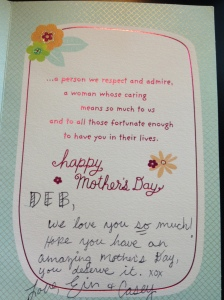 Mother Day card, inside